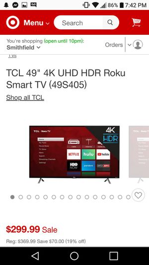 "50"" TCL roku smart tv for Sale in Cranston, RI"