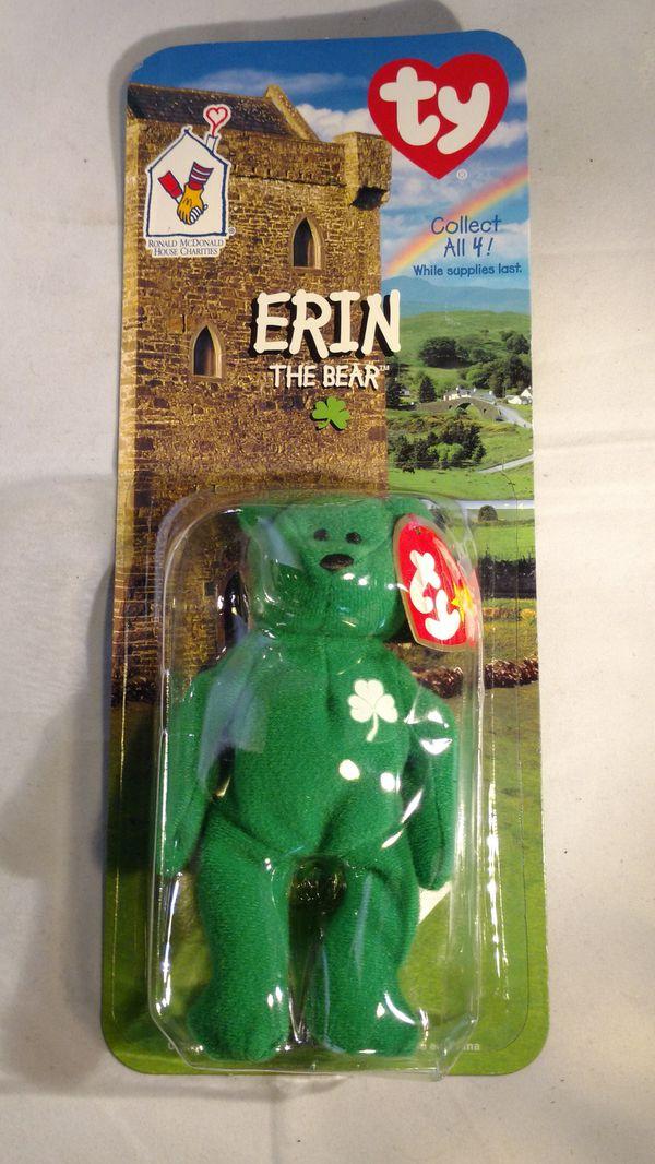 Rare McDonald's Erin the bear beanie Baby like new