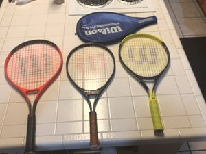 3 shorter handled Wilson tennis rackets with 1 cover for Sale in Albuquerque, NM