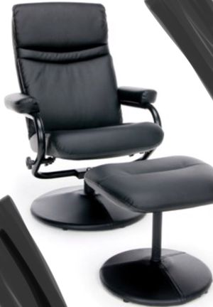 New!! Executive chair, office chair, bonded leather office chair and ottoman, rolling desk chair, office furniture, black for Sale in Phoenix, AZ