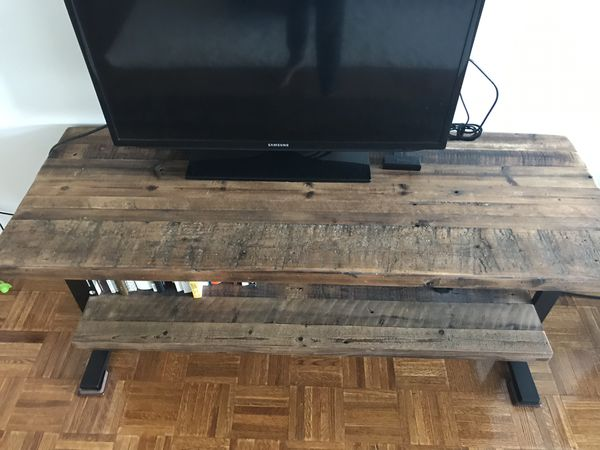 Reclaimed wood and iron TV stand