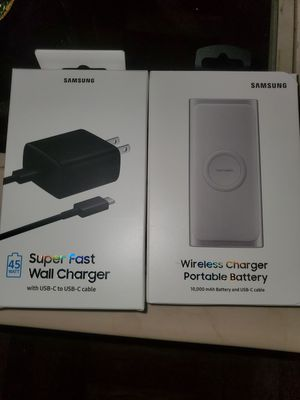 Samsung Note 10 Super Fast 45 watt wall charger and Wireless portable charger for Sale in The Bronx, NY