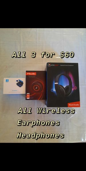 (NEW) 2 Wireless Headphones & 1 Wireless Earphones for Sale in Fresno, CA