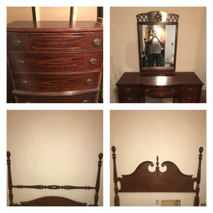 Antique burl wood three piece bedroom set for Sale in Portland, OR