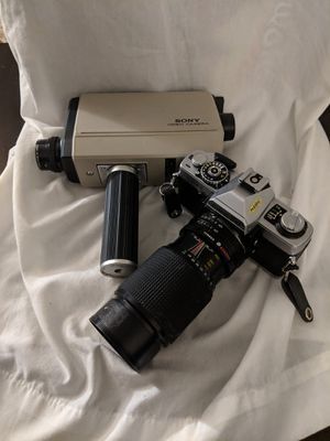 Vintage Minolta camera with zoom lense and Sony video camera for Sale in Seattle, WA