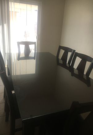 6 chair dining table w/glass on top- If it doesn't say sold, it's still available! for Sale in Bakersfield, CA