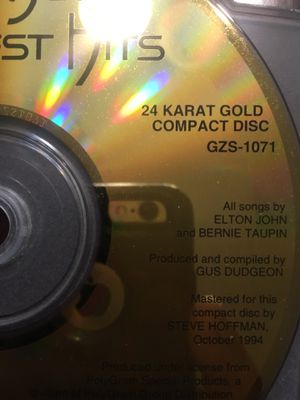 Limited 24 caret gold CD Elton Johns greatest hits for Sale in Pomona, CA