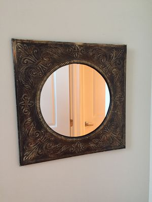 """Antique mirror 11"""" in diameter. Metal frame 16.5"""" x 16.5"""". Made in India. You can hang it in two different ways. Like new condition. for Sale in Menands, NY"""
