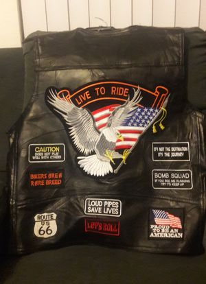 Motorcycle genuine leather vest for Sale in Tarpon Springs, FL