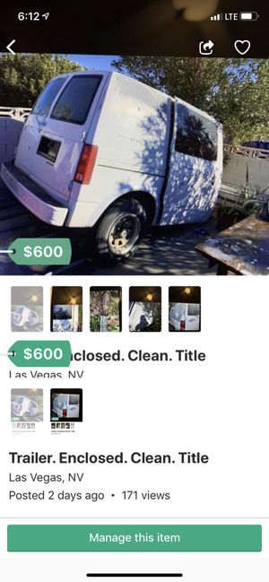 Enclosed trailer. Astro van. Clean. Title for Sale in Las Vegas, NV