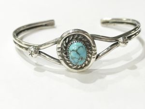 .925 Sterling Unisex Open Bangle with Turquoise Stone **Great Buy** I-3296 for Sale in Tampa, FL