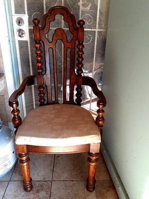 I have 8 Wood dining chairs sets. Good condition. 2 chairs have arms, 6 chairs no arms. $450 for all for Sale in Houston, TX