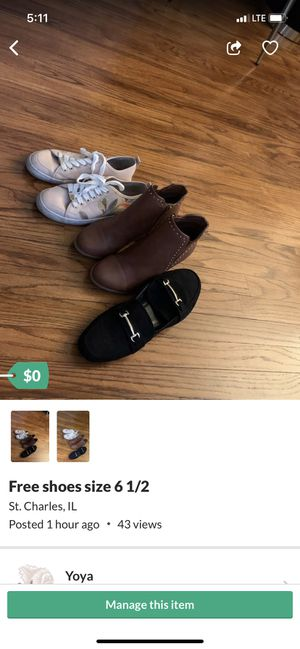 Free shoes size 6 1/2 for Sale in St. Charles, IL