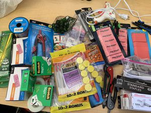 $1 each - NEW pens, NEW erasers, NEW pencils, compasses, NEW staple packages, NEW tape packages, hot glue sticks for Sale in Cupertino, CA