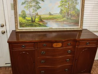 "Solid wood buffet / dresser / TV stand with big drawers and cabinets in great condition all drawers working, dovetail drawers driveway pickup. L62*""W2 for Sale in Springfield,  VA"