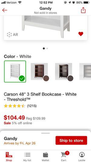 "Target white 48"" 3 Shelf Bookcase - White - Threshold TM for Sale in Tampa, FL"