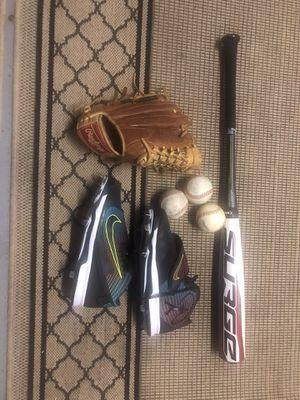 Glove -dozen baseball-Griffey's spikes -bat for Sale in Delray Beach, FL