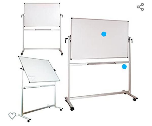 Mobile Magnetic Whiteboard, Dry Erase Board 60 x 40, Double Sided White Board