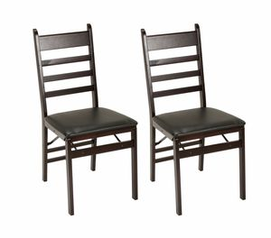 NEW set of 2pcs Ladder Back & Vinyl Seat Wood Folding Chair, Espresso for Sale in Las Vegas, NV