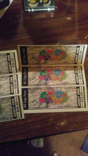 Paintball tickets has to go 6 of them for Sale in US