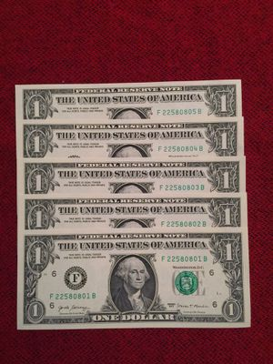Expand your collection with these 100 bills of $ 1.00 each with the following characteristics: All new uncirculated, in excellent condition and conse for Sale in Weston, FL