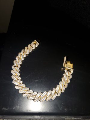 14k gold plated cuban link bracelet simulated lab diamonds for Sale in Brentwood, NC