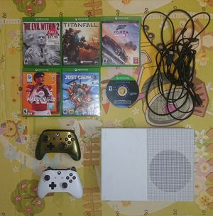 White Xbox one s slim 500gb hd with 2 controllers and 7 games (gta 5 on the hard drive) for sale for Sale in Los Angeles, CA