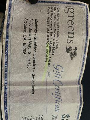 Restaurant Gift Certificates for Sale in Stockton, CA