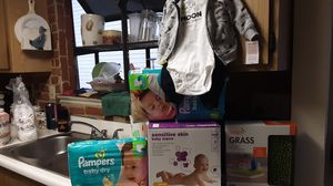 Pampers, baby wipes, boom grass, outfit for Sale in Fontana, CA