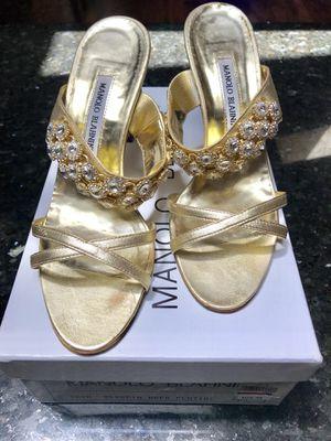 Manolo Blahnik Gold Sandals 8.5 for Sale in Lakeside, AZ
