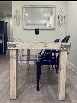 Table custom made rustic/vintage table with ghost chairs for Sale in Los Angeles, CA