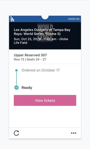 2 World Series tickets! Game 5 section 307 for Sale in Arlington, TX