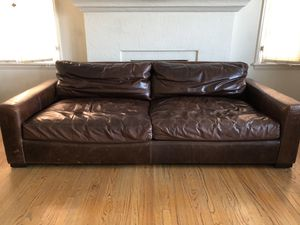 Restoration Hardware Brown Leather Couch Set for Sale in Los Angeles, CA