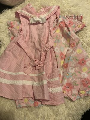 Baby girl clothes/ 6-9 months 🌸 1 pink dress / 1 flower 🌺 jumpsuit ✨💕 for Sale in San Bernardino, CA