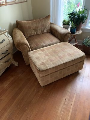 Gold armchair with storage ottoman for Sale in Seattle, WA