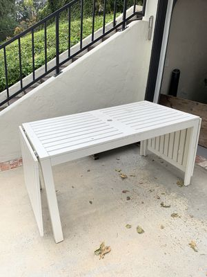 White outdoor ikea dining table for Sale in Fullerton, CA