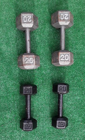 60lbs Hexagon Dumbell Weights 2x20lbs 2x10lbs for Sale in Hollywood, FL