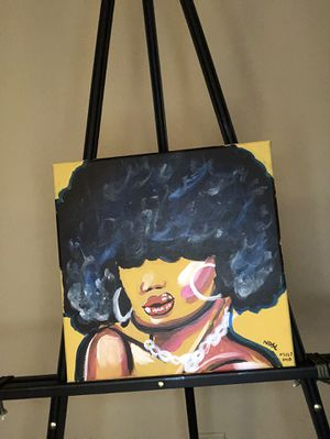 Lady with afro acrylic painting for Sale in Savannah, GA