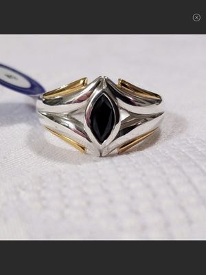 """NWT """"Black Magick"""" Sterling Silver & Gold Onyx Marquis Ring Size 9 for Sale in Durbin, WV"""
