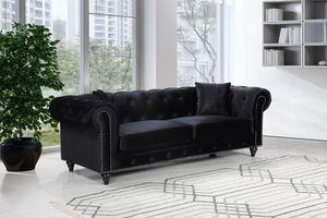 Chesterfield Vellllvet Black Sofa for Sale in Arlington, VA