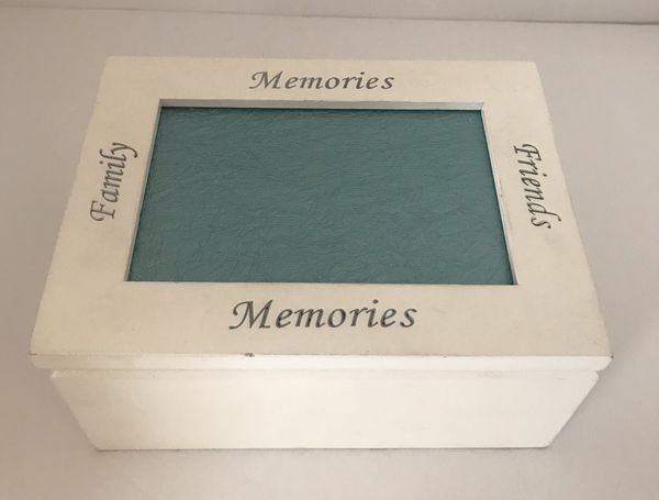 """""""Family, Memories, Friends"""" wooden jewelry box with picture frame and mirror"""