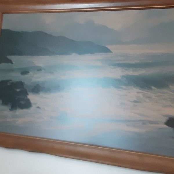 Large Sea Shore print, Over 50 years old