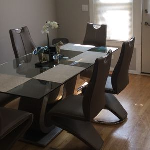 Glass table And 6 Chairs for Sale in Bensenville, IL