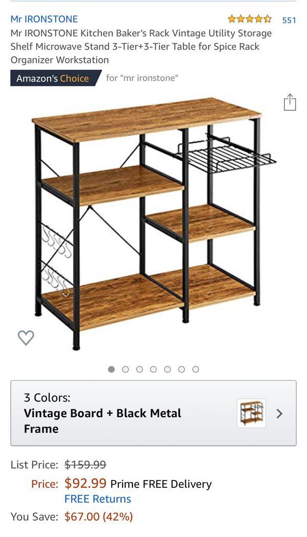 Mr Ironstone kitchen bakers rack/storage shelf