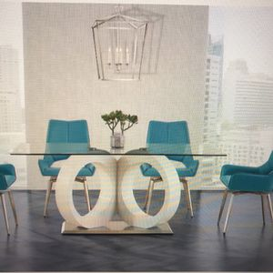 SALE $1150 DINING ROOM SET GLASS TABLE + 4 CHAIRS for Sale in Oak Lawn, IL