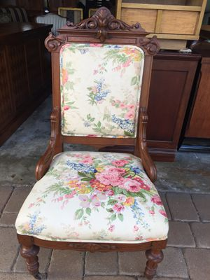 Antique mahogany flowered chair for Sale in Lake Worth, FL