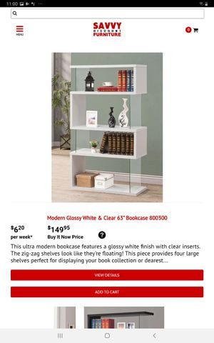 Modern Glossy White and Clear 63' Bookcase for Sale in Farmers Branch, TX