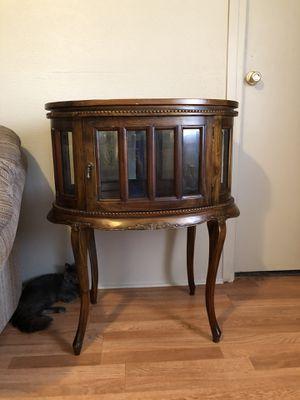 Mahogany Oval Chocolate Display Vitrine Curio Cabinet Table for Sale in Wichita, KS
