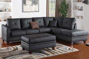 New Couch Sectional Black Top Grain Leather. for Sale in Santa Monica, CA