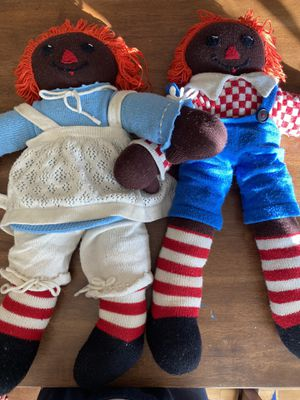 Rare Pair of Black Knit Raggedy Anne and Andy Dolls for Sale in Seattle, WA